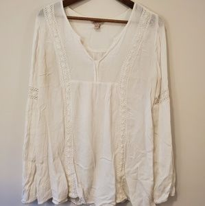 Arizona Jean Co white peasant shirt size Large